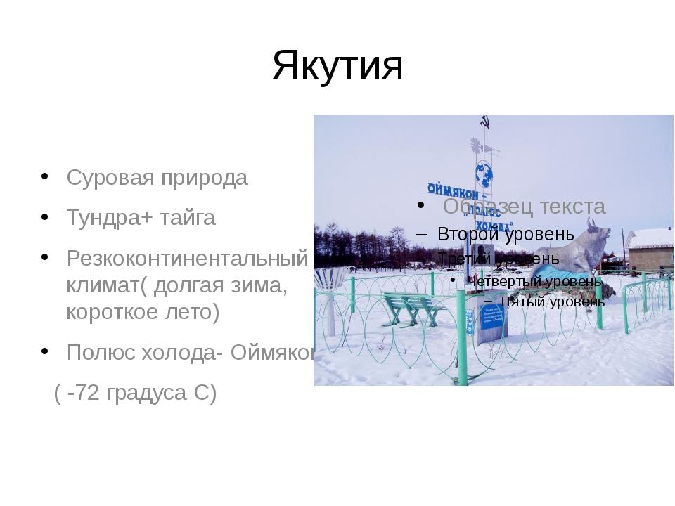 Якутия Суровая природа Тундра+ тайга Резкоконтинентальный климат( долгая зима...