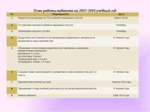 План работы кабинета на 2015-2016 учебный год № Мероприятие Дата 1 Разработка