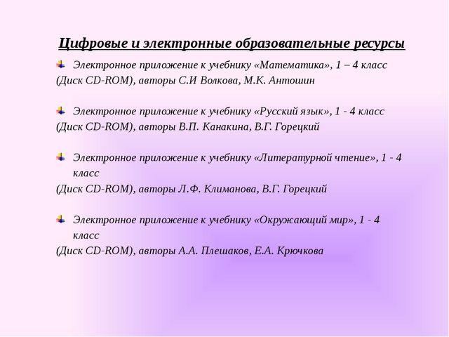 Цифровые и электронные образовательные ресурсы Электронное приложение к учебн...
