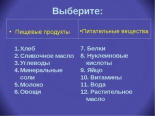 Выберите: Пищевые продукты Хлеб Сливочное масло Углеводы Минеральные соли Мол