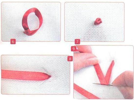 вышивка лентами, уроки вышивания, французский узелок