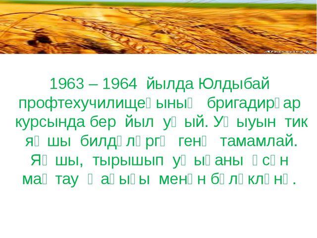 1963 – 1964 йылда Юлдыбай профтехучилищеһының бригадирҙар курсында бер йыл у...