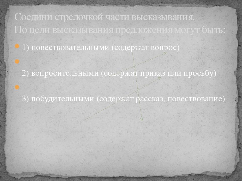 1) повествовательными (содержат вопрос) 2) вопросительными (содержат приказ и...