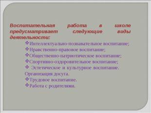 Воспитательная работа в школе предусматривает следующие виды деятельности: Ин