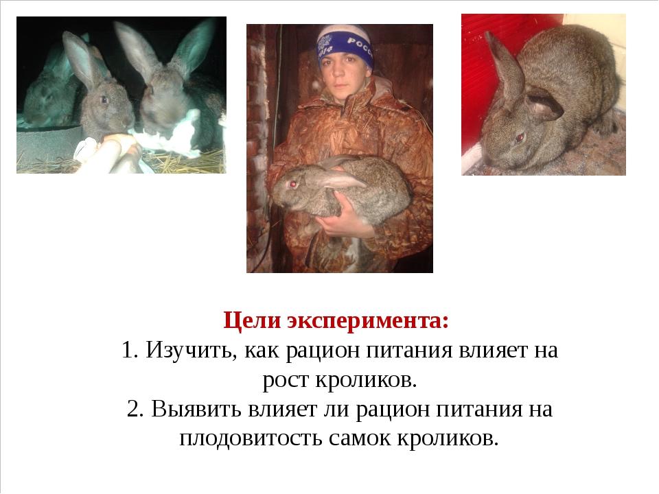Цели эксперимента: 1. Изучить, как рацион питания влияет на рост кроликов. 2...