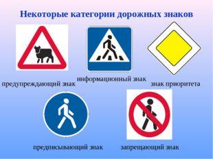 Некоторые категории дорожных знаков знак приоритета запрещающий знак информац
