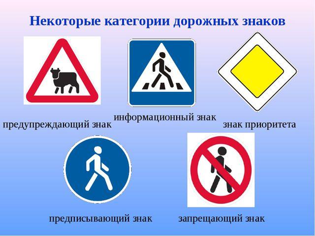 Некоторые категории дорожных знаков знак приоритета запрещающий знак информац...
