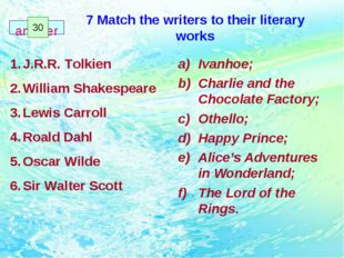 7 Match the writers to their literary works Ivanhoe; Charlie and the Chocolat