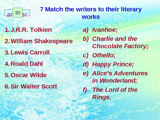 7 Match the writers to their literary works Ivanhoe; Charlie and the Chocolat...