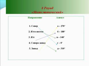 8 Раунд «Математический» Направление Азимут  1. Север а – 270°  2. Юго-вост