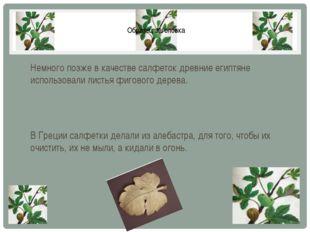 Немного позже в качестве салфеток древние египтяне использовали листья фигово
