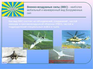 Военно-воздушные силы (ВВС) - наиболее мобильный и маневренный вид Вооруженны
