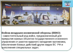 Войска воздушно-космической обороны (ВВКО) - самостоятельный род войск, предн