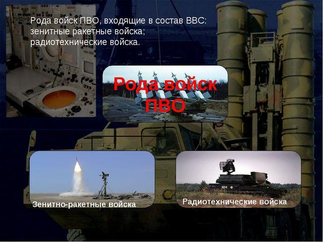 Зенитно-ракетные войска Радиотехнические войска Рода войск ПВО, входящие в со...