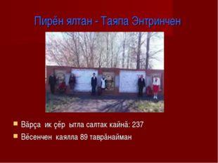 Пирĕн ялтан - Таяпа Энтринчен Вăрçа ик çĕр ытла салтак кайнă: 237 Вĕсенчен ка