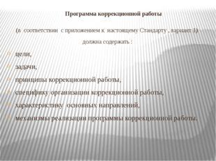 Программа коррекционной работы (в соответствии с приложением к настоящему Ст