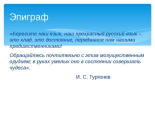 «Берегите наш язык, наш прекрасный русский язык – это клад, это достояние, п
