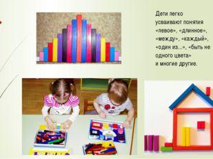 Дети легко усваивают понятия «левое», «длинное», «между», «каждый», «один из.