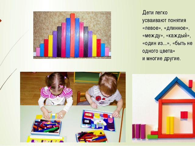 Дети легко усваивают понятия «левое», «длинное», «между», «каждый», «один из....