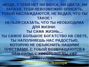 «ВОДА, У ТЕБЯ НЕТ НИ ВКУСА, НИ ЦВЕТА, НИ ЗАПАХА, ТЕБЯ НЕВОЗМОЖНО ОПИСАТЬ, ТОБ
