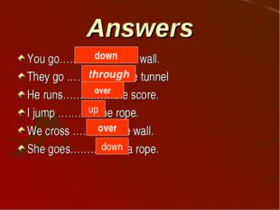Answers You go…………………a wall. They go ……………..the tunnel He runs……………the score.