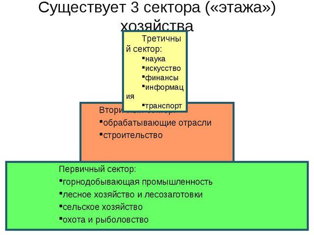 Существует 3 сектора («этажа») хозяйства Вторичный сектор: обрабатывающие отр...