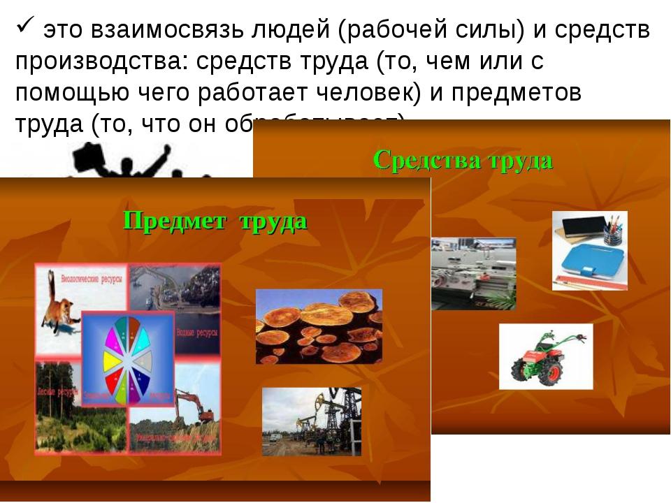это взаимосвязь людей (рабочей силы) и средств производства: средств труда (...