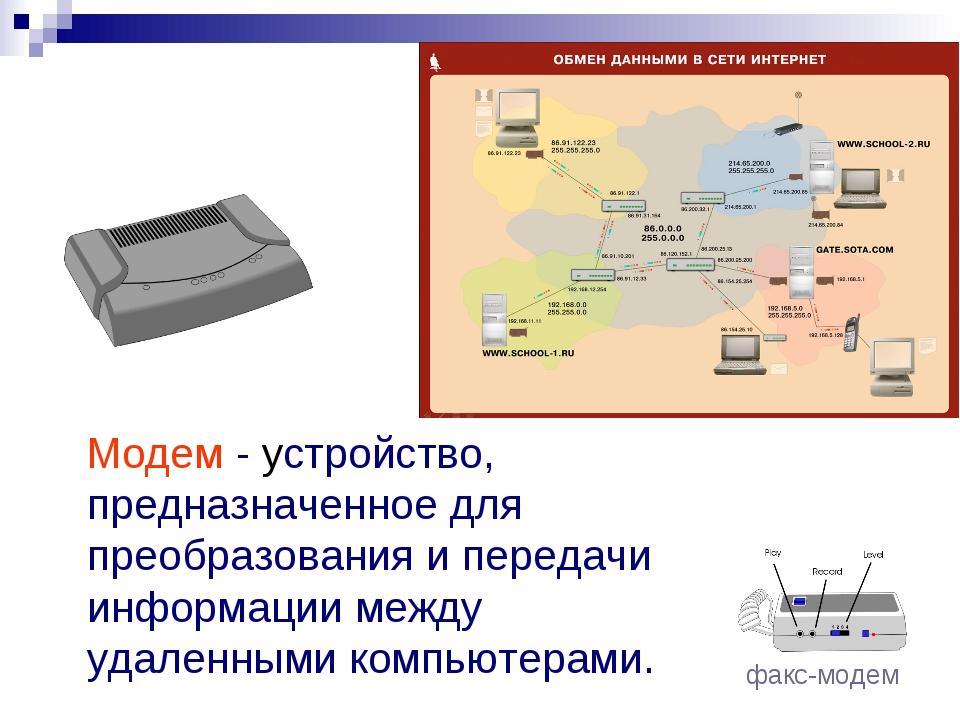 Модем - устройство, предназначенное для преобразования и передачи информации...