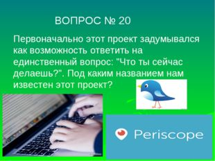 ВОПРОС № 20 Первоначально этот проект задумывался как возможность ответить н