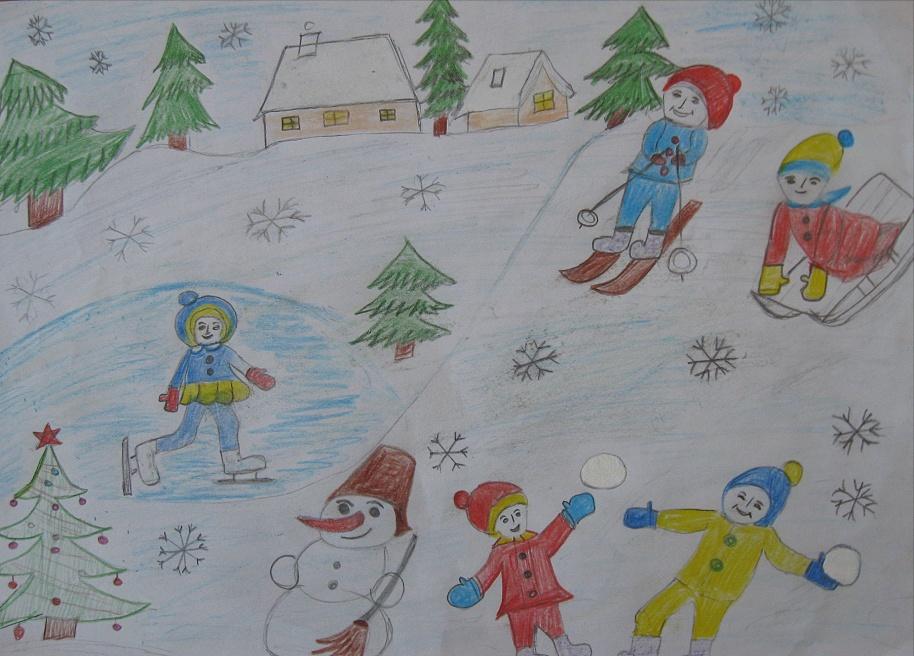 Зимние забавы картинки нарисованные карандашом