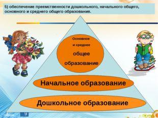 * 5) обеспечение преемственности дошкольного, начального общего, основного и