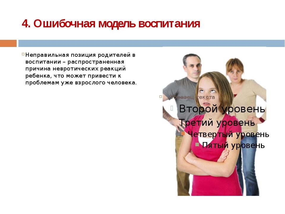 4. Ошибочная модель воспитания Неправильная позиция родителей в воспитании –...
