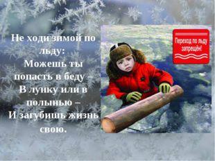 Не ходи зимой по льду: Можешь ты попасть в беду – В лунку или в полынью – И