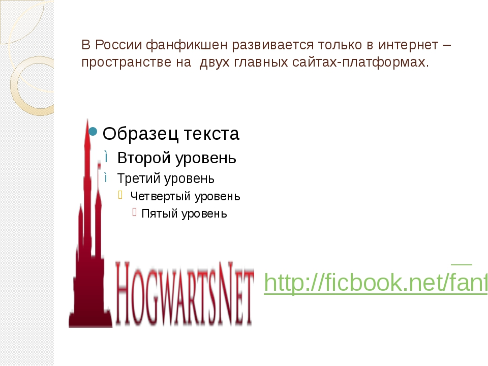 В России фанфикшен развивается только в интернет –пространстве на двух главны...