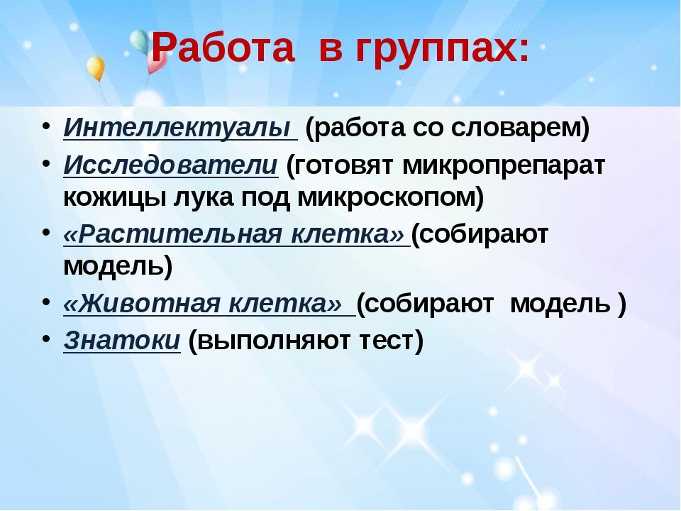 Работа в группах: Интеллектуалы (работа со словарем) Исследователи (готовят м...