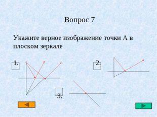 Вопрос 7 Укажите верное изображение точки А в плоском зеркале 1. 2. 3.