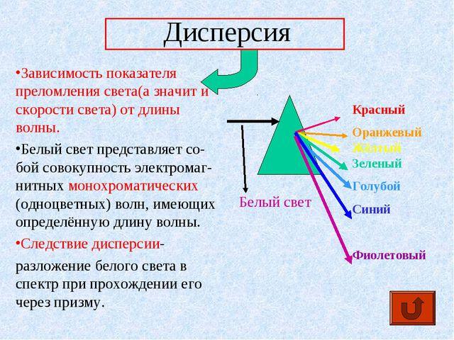 Дисперсия Зависимость показателя преломления света(а значит и скорости света)...