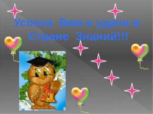 Успеха Вам и удачи в Стране Знаний!!!