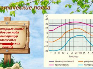 Характерные типы годового хода температур различных климатических поясов Клим