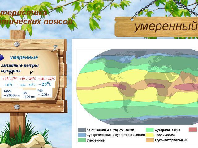 Характеристика климатических поясов умеренный М К М западные ветры муссоны