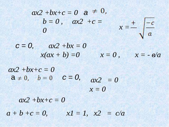ax2 +bx+c = 0 b = 0 , ax2 +c = 0 c = 0, ax2 +bx = 0 x(ax + b) =0 x = 0 , x =...
