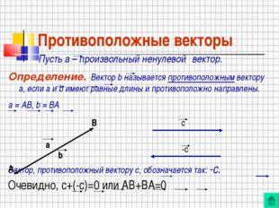 Противоположные векторы Пусть а – произвольный ненулевой вектор. Определение.