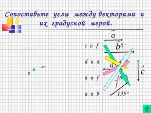 Сопоставьте углы между векторами и их градусной мерой. О c и f 0 o d и a 45 o