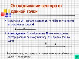 Откладывание вектора от данной точки Если точка А – начало вектора а , то гов