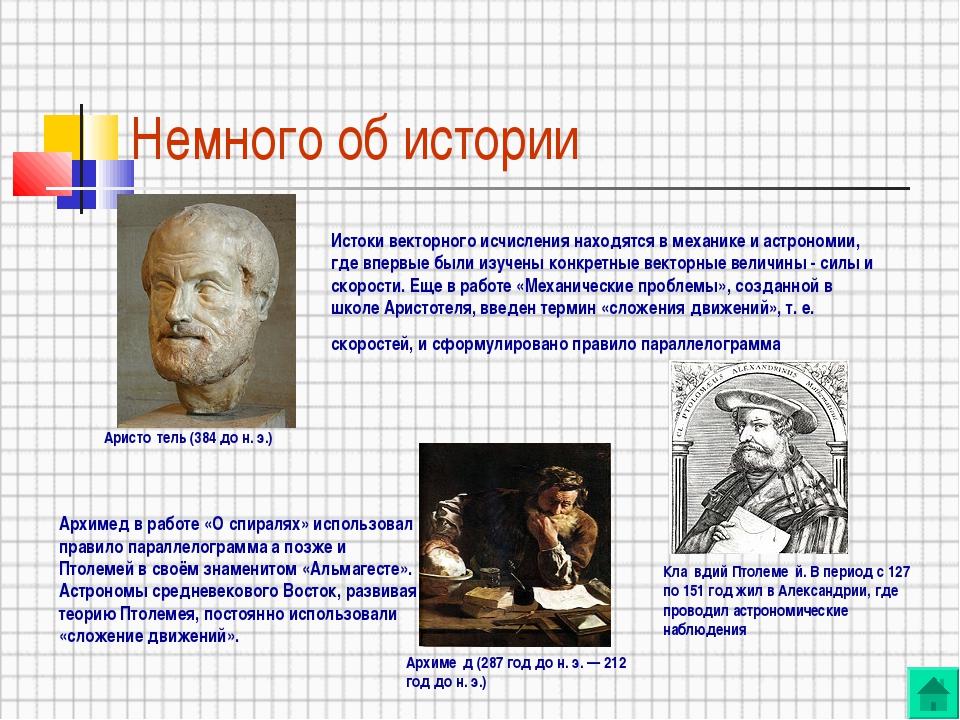 Немного об истории Истоки векторного исчисления находятся в механике и астрон...