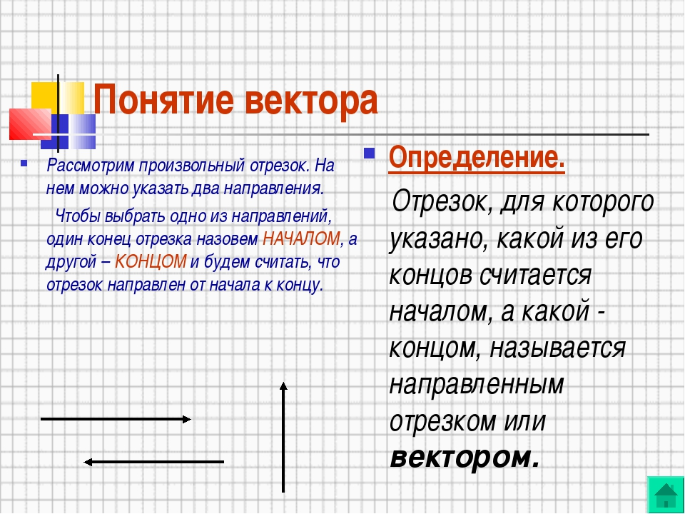 Понятие вектора Рассмотрим произвольный отрезок. На нем можно указать два нап...