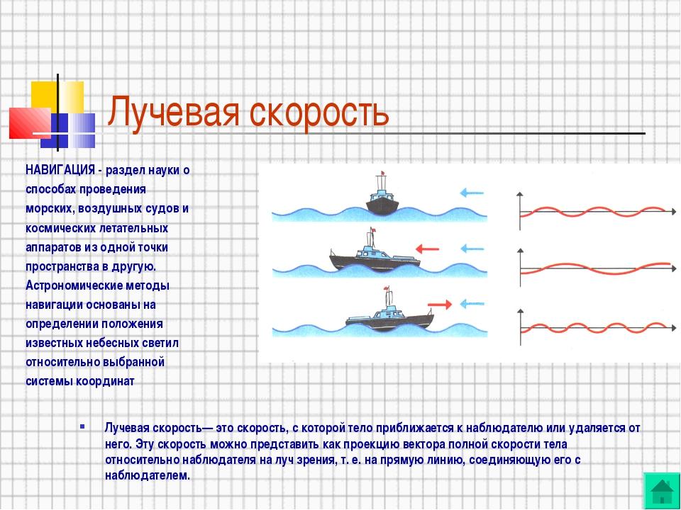Лучевая скорость НАВИГАЦИЯ - раздел науки о способах проведения морских, возд...