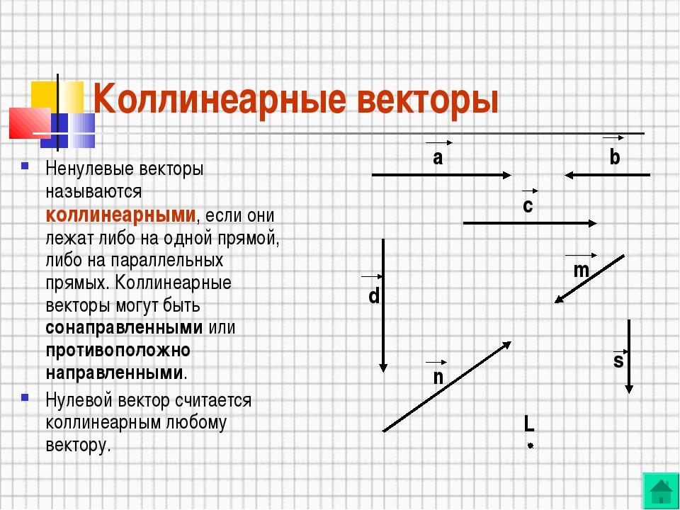 Коллинеарные векторы Ненулевые векторы называются коллинеарными, если они леж...