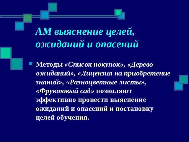АМ выяснение целей, ожиданий и опасений Методы «Список покупок», «Дерево ожид...