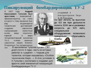 Пикирующий бомбардировщик ТУ-2 созданный в конструкторском бюро А. Н.Туполева
